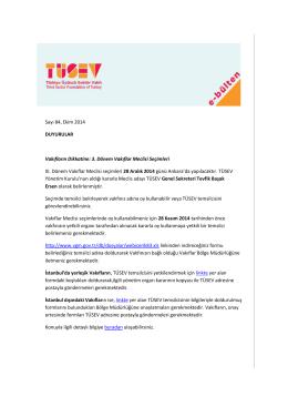TÜSEV e-bülten sayı 84, Ekim 2014