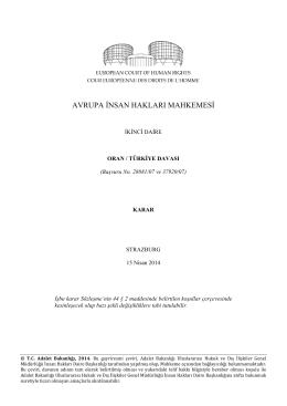 Oran v. Türkiye - İnsan Hakları Daire Başkanlığı