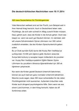 141119 Nachrichten auf Deutsch und Tuerkisch