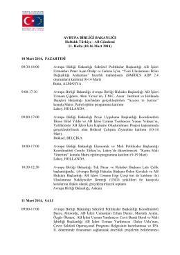 10-16 Mart 2014 - Avrupa Birliği Bakanlığı