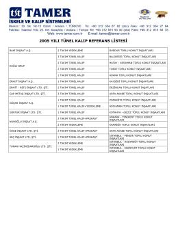 2005 yılı tünel kalıp referans listesi