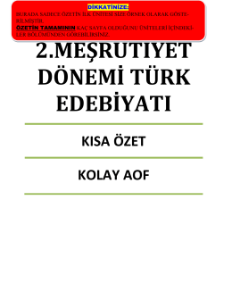 2.meşrutiyet dönemi türk edebiyatı