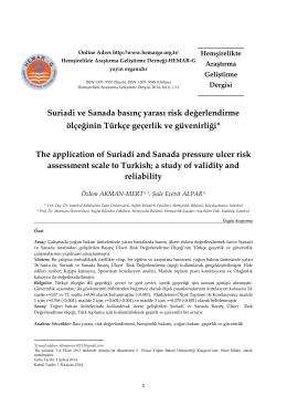 Suriadi ve Sanada basınç yarası risk değerlendirme ölçeğinin