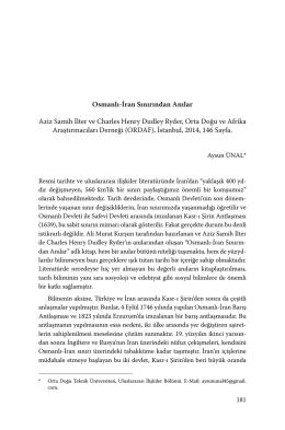 Osmanlı-İran Sınırından Anılar Aziz Samih İlter ve Charles