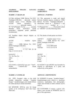 ANADOLU IMAGES SANATÇI SÖZLEŞMESİ MADDE 1. TARAFLAR