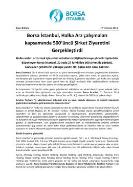 Borsa İstanbul, Halka Arz çalışmaları kapsamında