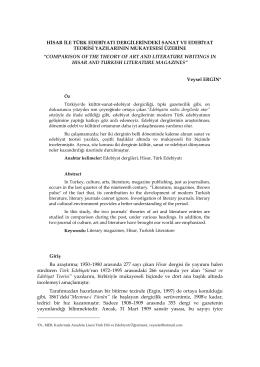 Hisar İle Türk Edebiyatı Dergilerindeki Sanat ve
