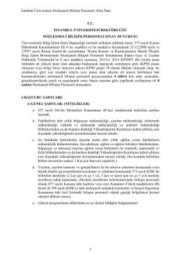 İstanbul Üniversitesi Sözleşmeli Bilişim Personeli Alım İlanı T.C.