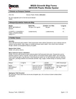 MSDS Güvenlik Bilgi Formu DEVCON Plastic