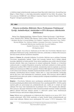Pistacia terebinthus Bitkisinin Meyve Perikarpının Fitokimyasalİçeriği