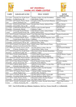 alp anaokulu kasım ayı yemek listesi
