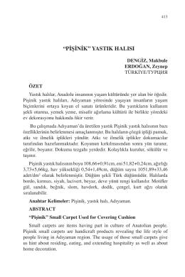 """DENGİZ, Makbule – ERDOĞAN, Zeynep-""""PİŞİNİK"""" YASTIK"""