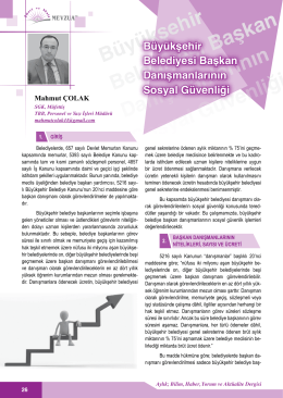 Büyükşehir Belediyesi Başkan Danışmanlarının Sosyal Güvenliği/M