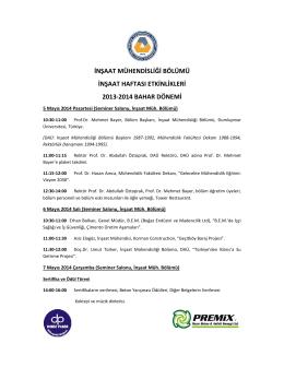 inşaat mühendisliği bölümü inşaat haftası etkinlikleri 2013-2014
