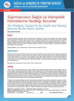 Sığınmacıların Sağlık ve Hemşirelik Hizmetlerine