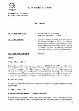 T.C KAMU DENETÇİLİĞİ KURUMU ŞİKAYET NO :04.2013/1917