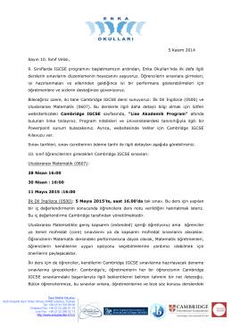 10. Sınıflar IGCSE Veli Mektubu