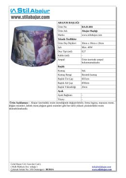 ABAJUR BAŞLIĞI Ürün No BA.01.001 Ürün Adı Abajur Başlığı