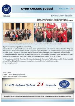 Kasım 2014 İletisi - ÇYDD Ankara Şubesi