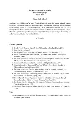 adanali islam felsefesi bibliyografya 2014