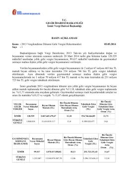 2013 Vergilendirme Dönemi Gelir - İzmir Vergi Dairesi Başkanlığı