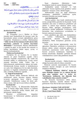 RAMAZAN BAYRAMI Kardeşlerim! Hz. Peygamber (s.a.v.) Medine