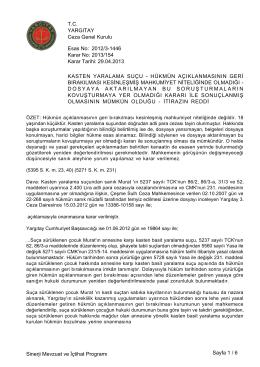 Esas No: Karar No: YARGITAY Ceza Genel Kurulu 2012/3