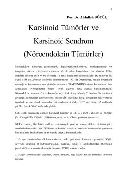 Karsinoid Tümörler ve Karsinoid Sendrom (Nöroendokrin Tümörler)