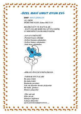 mavi şirinler ekim ayı programı - Özel Mavi Umut Oyun ve Sanat Evi