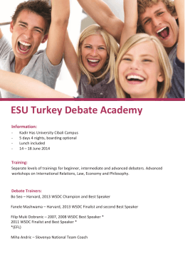 ESU Turkey Debate Academy