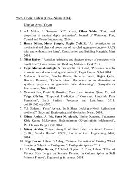 2014 1. Üç Aylık Dönem Akademik Faaliyet Listesi