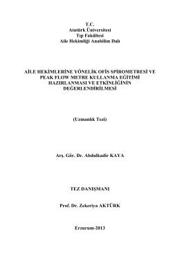 Uzmanlık Tezi - Atatürk Üniversitesi Tıp Fakültesi Aile Hekimliği AD