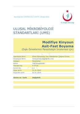 Modifiye Kinyoun asit-fast boyama - Türkiye Halk Sağlığı Kurumu