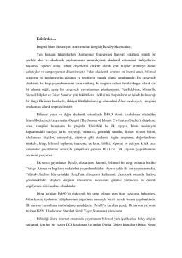 Editörden… - Dumlupınar Üniversitesi