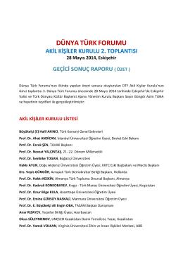 DTF Akil Kiiler Kurulu 2. Toplants Sonu Raporu