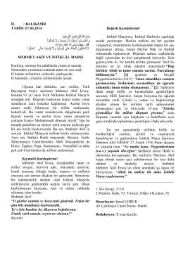 07.03.2014 Tarihli Hutbe : MEHMET AKİF VE İSTİKLAL MARŞI