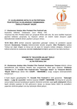 Ödüllü Filmler Geçidi - Altın Portakal Film Festivali