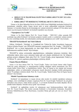 TRAGEP ile Kırklareli - Orman ve Su İşleri Bakanlığı