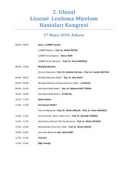 2. Ulusal Lösemi Lenfoma Miyelom Hastaları Kongresi 17 Mayıs