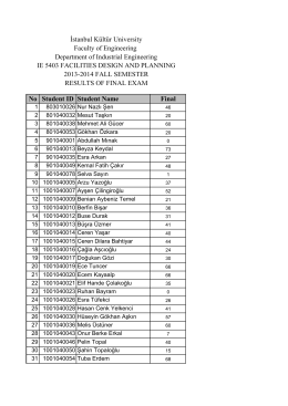 No Student ID Student Name Final 2013