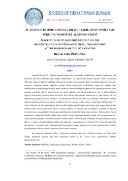 19. yüzyılın başında osmanlı adliye teşkilatının yenilenme sürecine