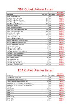 GNL Outlet Ürünler Listesi ECA Outlet Ürünler Listesi
