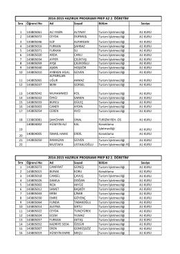 İkinci Öğretim Sınıf Listeleri