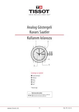 Analog Göstergeli Kuvars Saatler Kullanım kılavuzu