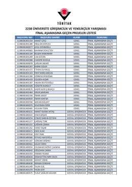 2014 yılı Final Aşamasına Geçen Projelerin listesine ulaşmak için
