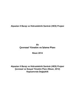 Çevresel Yönetim ve İzleme Planı