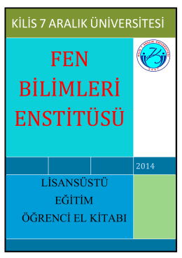 3 - Fen Bilimleri Enstitüsü - Kilis 7 Aralık Üniversitesi