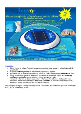 FLOATRON, • Güneş enerjisi ile çalışan Floatron, iyonizasyon