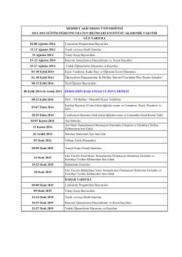 2014-2015 Eğitim-Öğretim Yılı Fen Bilimleri Enstitüsü Akademik