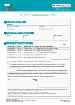 Plan ve Fon Dağılımı Değişikliği Formu